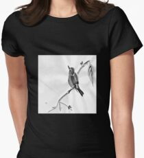 Sumi-E Wren Drawing Womens Fitted T-Shirt