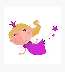Cute Fairy Princess Character isolated on white background Photographic Print