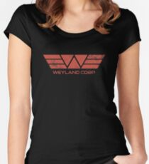 Weyland Corp - Distressed Red Women's Fitted Scoop T-Shirt