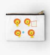 Cartoon illustration of cute safari lion character: single Lion Studio Pouch