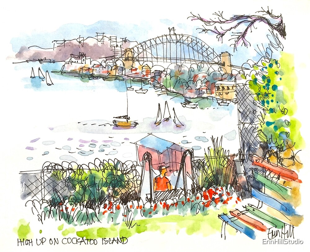 Sydney Harbour from Cockatoo Island by ErinHillStudio