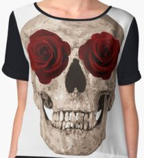 Sweet Skull of Roses gothic cute sexy t-shirt Chiffon Top
