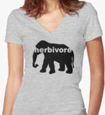Herbivore (elephant) Women's Fitted V-Neck T-Shirt