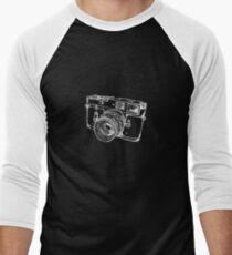 Vintage Rangefinder Camera Line Design - White Ink for Dark Background Men's Baseball ¾ T-Shirt