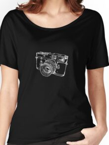 Vintage Rangefinder Camera Line Design - White Ink for Dark Background Women's Relaxed Fit T-Shirt
