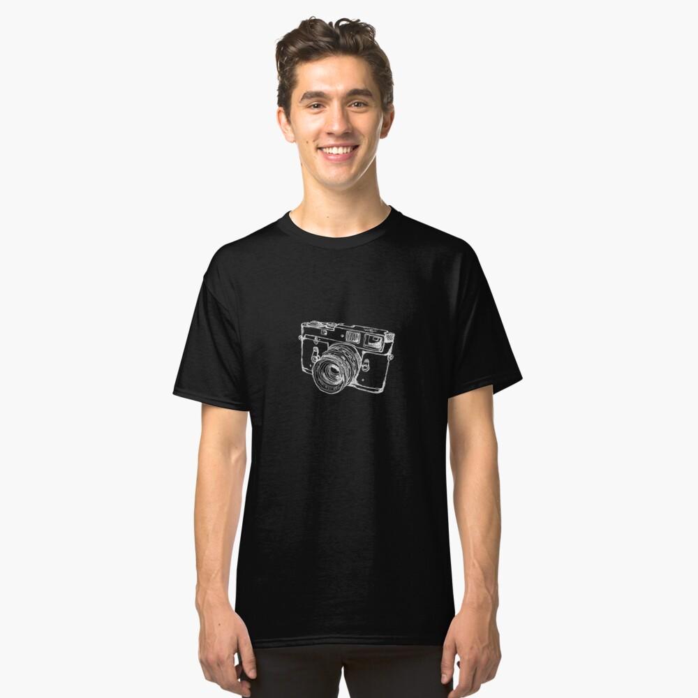 Vintage Rangefinder Camera Line Design - White Ink for Dark Background Classic T-Shirt Front