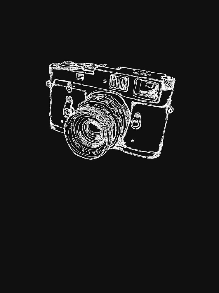 Vintage Rangefinder Camera Line Design - White Ink for Dark Background von strayfoto