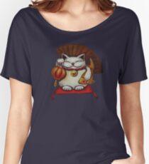 White Maneki neko with a Japanese lantern and koi Women's Relaxed Fit T-Shirt