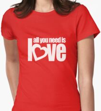 All you need is love white heart text on red T-Shirt