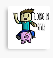 Minecraft Steve Rinding a Pig! Canvas Print