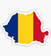 Romania Flag Map Sticker