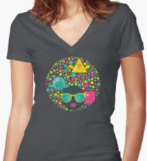 Geometric birds Women's Fitted V-Neck T-Shirt