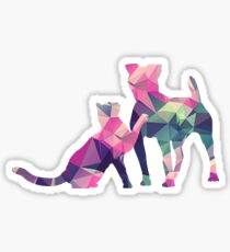 Moggy and Pooch #1. Pink&Green. Take your best friend everywhere. Sticker