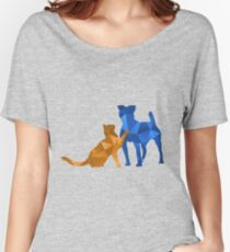 Moggy and Pooch #2. Blue&gold. Take your best friend everywhere. Women's Relaxed Fit T-Shirt