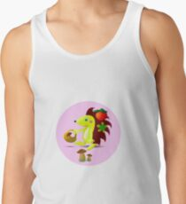 cute hedgehog collects apples and mushrooms in the forest Tank Top