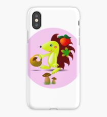 cute hedgehog collects apples and mushrooms in the forest iPhone Case