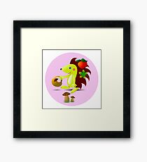 cute hedgehog collects apples and mushrooms in the forest Framed Print