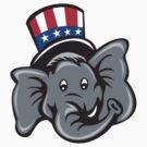 Republican Elephant Mascot Head Top Hat Cartoon by retrovectors
