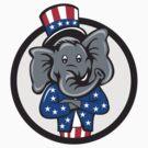 Republican Elephant Mascot Arms Crossed Circle Cartoon by retrovectors