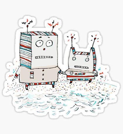 Robots at the Beach  Sticker