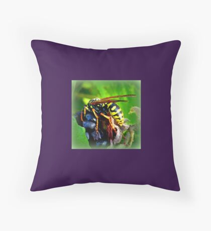 Wasp on Blackberry Throw Pillow