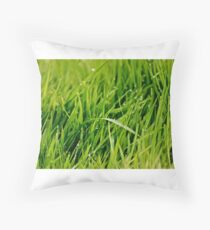 Grass after rain Throw Pillow