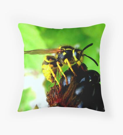 Blackberry with wasp Throw Pillow