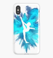 Gymnast Silhouette - Blue Explosion  iPhone Case/Skin