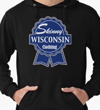 Wisconsin Skinny Blue Badge of Honor Lightweight Hoodie