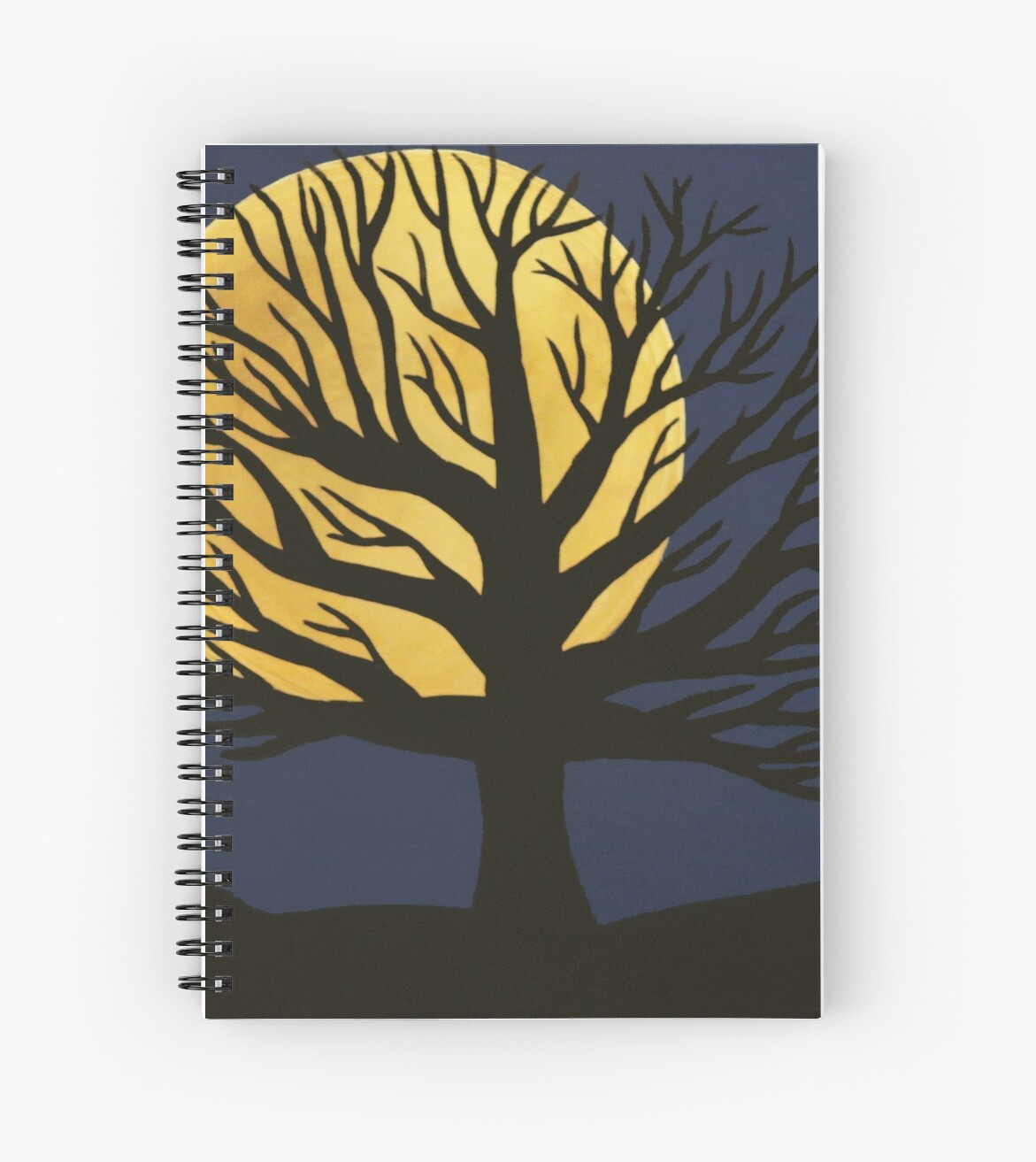'Spooky Tree (Yellow)' Spiral Notebook