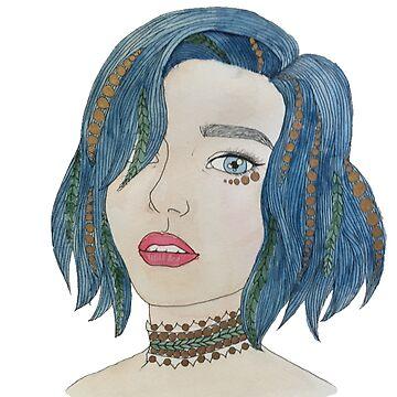 Blue Haired  by KaitDessine