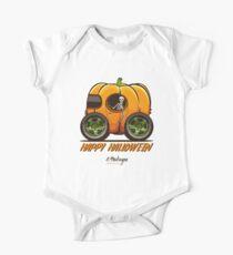 Happy Halloween. Pumpkin car One Piece - Short Sleeve