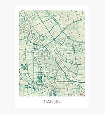 Tianjin Map Blue Vintage Photographic Print