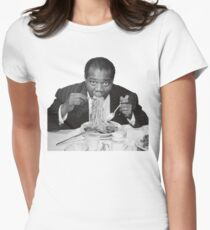 Louis Armstrong Eating Spaghetti Womens Fitted T-Shirt