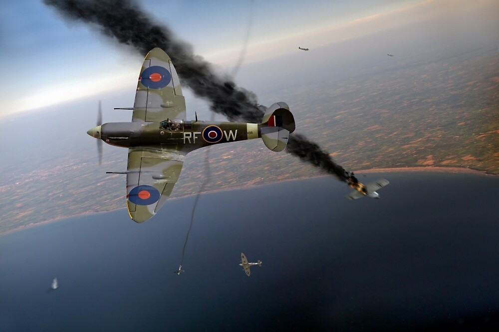 303 Squadron Spitfires in Channel dogfight by Gary Eason