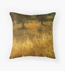 Golden corn in the olive grove Throw Pillow