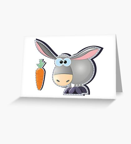 gray donkey with carrot Greeting Card