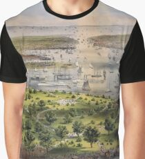 Camiseta gráfica 592 The Port of New York bird's eye view from the Battery looking south