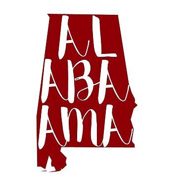 Letras del estado de Alabama - Carmesí de clairechesnut