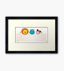Cute jungle animals with blank sign. Lion, hippopotamus and monkey. Framed Print