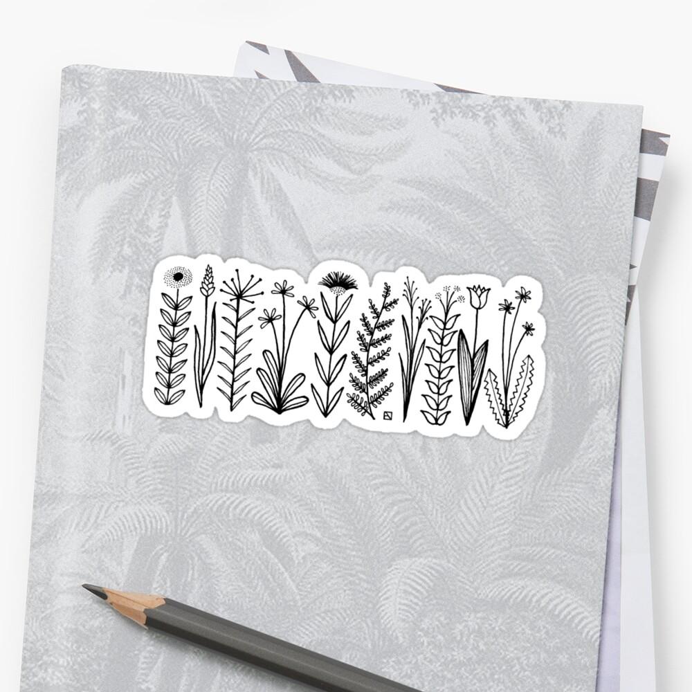 Blumenmuster scharz/weiß / flower pattern Sticker