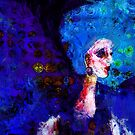 Blue Haired Girl on Windy Day  by Claire Bull