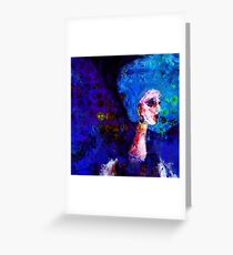 Blue Haired Girl on Windy Day  Greeting Card