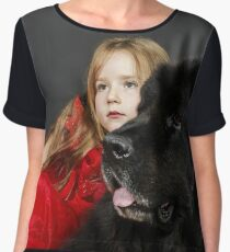 Beauty and the Beast. Little girl with big black water-dog portrait, isolated on grey Women's Chiffon Top