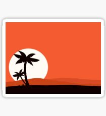 Retro holiday red background with sunset and palm silhouette Sticker