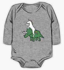 Unicorn Riding Triceratops Long Sleeve Baby One-Piece