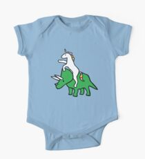 Body de manga corta para bebé Unicorn Riding Triceratops