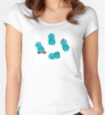 Cute happy blue hippopotamus in four poses. Vector cartoon Illustration of cute blue happy hippo. Women's Fitted Scoop T-Shirt