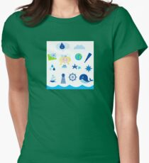 Nautic, sailor and adventure icons - blue T-Shirt