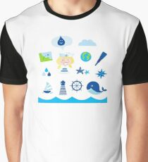 Nautic, sailor and adventure icons - blue Graphic T-Shirt